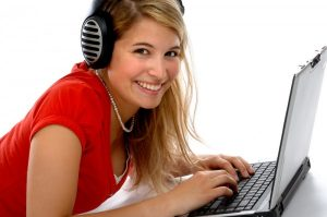 Woman listening to Internet Radio