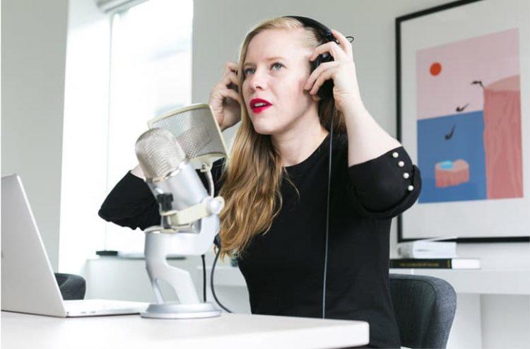 White Girl with Headphone